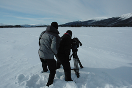 xCREW Photographer Kevin Ely shooting Porcupine caribou on frozen Chandalar Lake Brooks Range3 photo Ken Whitten