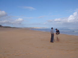 xCREW Producer Michael Harris with Niihau owner Bruce Robinson on pristine beach Photo Emele Frieberg